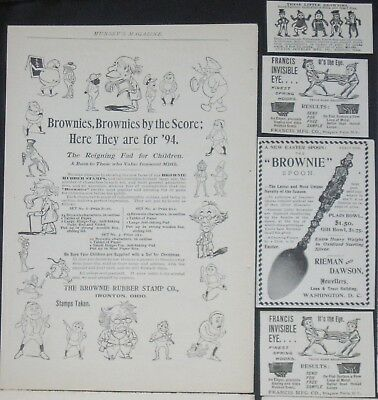 Antique/Vtg 1894 Palmer Cox BROWNIES Print Ad Lot:Easter Spoon,Rubber Stamp,Pins