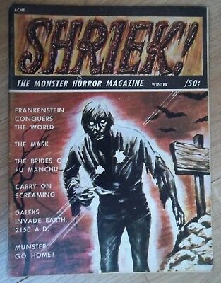 SHRIEK Winter 1967 The MONSTER HORROR Magazine Daleks Frankenstein Fu Manchu
