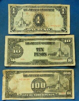 Philippines JIM 1, 10 (short snorter), 100 Pesos. Japan occupation money