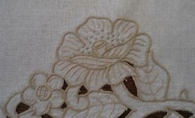Antique Linen Table Runner Taupe Cutwork Roses Embroidery Handmade 41""