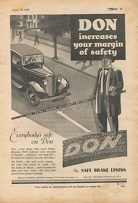 Don car brake linings, produced in Manchester - magazine advert from 1934