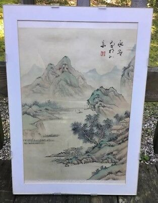 Estate Find Chinese Mountain Scene Painting on Silk Signed China