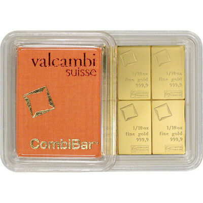 Valcambi 10x0.1 Ounce Gold CombiBar (1 oz) with Assay Card