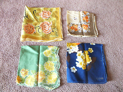 Collectible Ladies Hanky Set 4 Floral Print Gold Brown Navy Orange Green Yellow