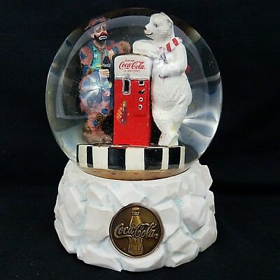 Coca Cola Music Snow Globe Polar Bear Clown Emmett Kelly, Cool off with Coke