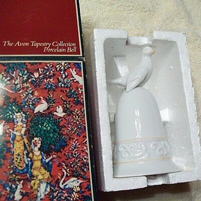 Vintage 1981 Avon Tapestry (Dove) Porcelain Bell ~ New in Box ~ Bell is PRISTINE