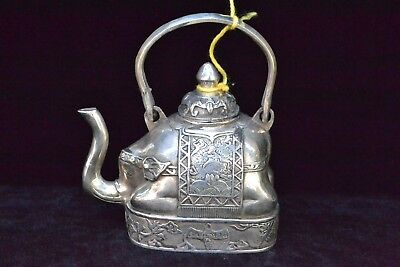 Rare Antique Collectible Old tibet silver handwork elephant portable big Teapot