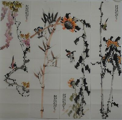 Beautiful Set Of 4 Large Chinese Paintings Signed Master Zhao Shaoang Y8685