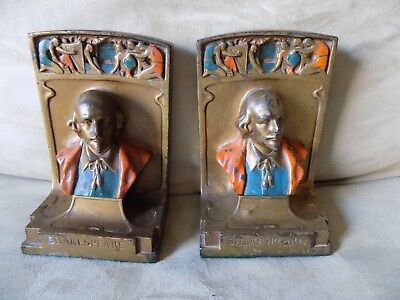 Antique Pompeian Bronze Co. Shakespeare 1920's Bookends Bookend
