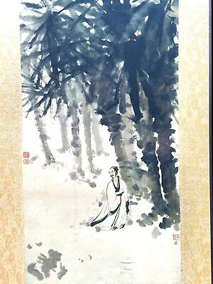 Ancient Old collectible Chinese famous Ancient Flowing bamboo walks painting