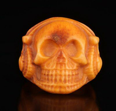 Rare Chinese Cattle Bone Ring Old Hand-Carved Skull Exorcising Collection
