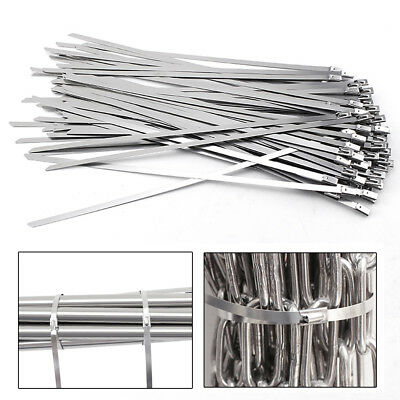 """100Pcs Stainless Steel 8""""-18"""" Exhaust Wrap Coated Metal Locking Cable Zip Tie"""