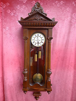 Beautiful, Old Pendulum Clock __Viennese Regulator__ with and 2 Weights__130cm