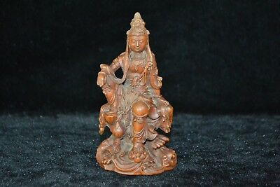 Rare Chinese Ancient old chinese handwork boxwood kwan-yin Auspicious statue