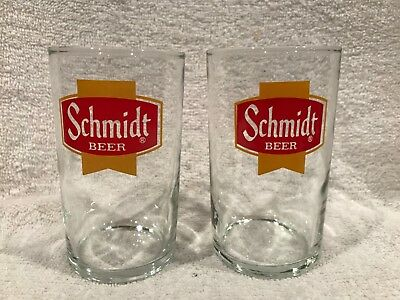 Set of 2-BEAUTIFUL 1960's Schmidt Beer 4 Inch Glass Tumblers, SUPER NICE!!