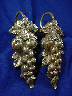 "Vintage Cast Brass Figural Grape Curtain  Tie Backs 8"" ~ 2 Pairs"
