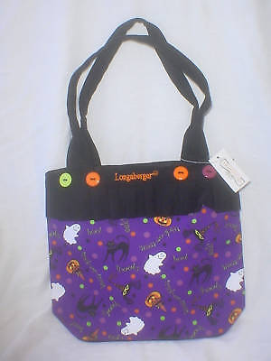 Purse Tote Halloween Party Longaberger fabric & Black Canvas new
