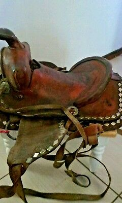 Simco Brown Tooled Saddle Leather Horse Equestrian Saddle !!!