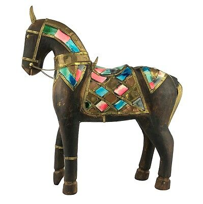 Vintage Hand Carved Wooden Horse Figure Metal Strips Colorful Inlay Saddle