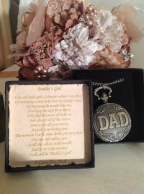 Vintage Bronze Thank You Dad Father Of The Bride Pocket Watch Wedding Gift