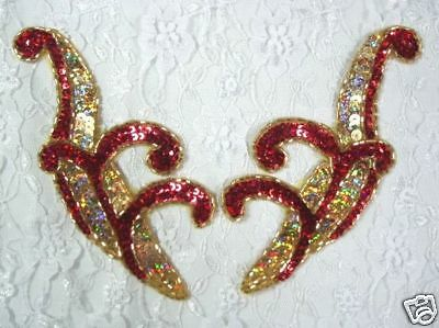 0416 RED GOLD FLORAL BEADED SEQUIN APPLIQUE MIRROR PAIR