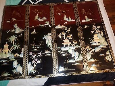 4 Oriental Vintage Chinese Wall Art Carved Mother of Pearl Maroon Lacquer Panels