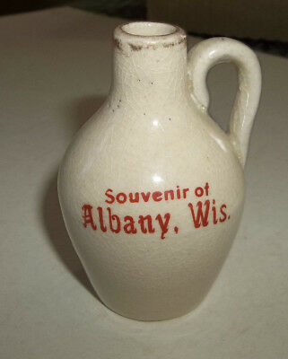 Rare OLD Vtg Miniature Souvenir of Albany Wisconisn Advertising Stoneware Jug