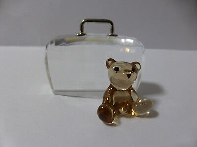 Swarovski Silver Crystal Teddy With Suitcase In Mint Condition