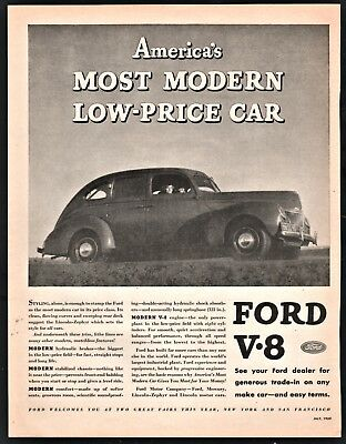 1939 FORD V-8 4-door Sedan Vintage Car AD