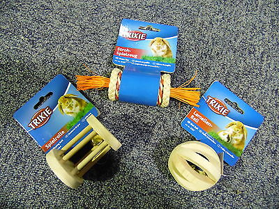 Trixie Pack Of 3 Rabbit Guinea Small Pet Cage Toys 6188-6184-6187