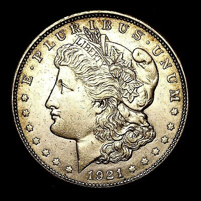 1921 D ~**ABOUT UNCIRCULATED AU**~ Silver Morgan Dollar Rare US Old Coin! #980