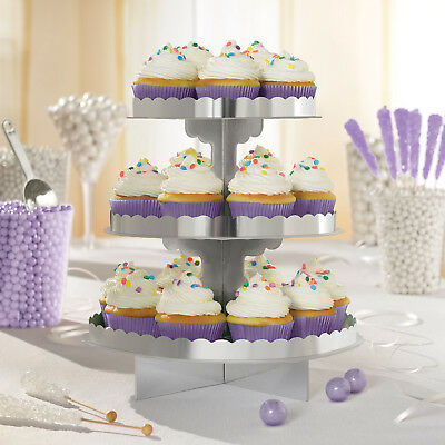Silver Cupcake Stand cardboard food serving stand 3 Tier Buffet Cake Stand