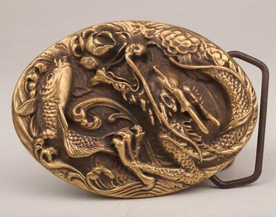 Brass Three-Dimensional Carving Dragon Statue Old Rare Belt Buckle Men's