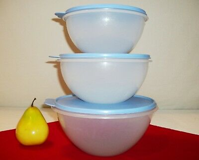 Tupperware 3 sizes SHEER Wonderlier Serving Bowls 6 8 12 cups ~TRUE BLUE or NCC
