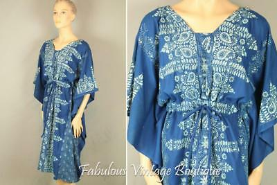 Vtg Blue Hand Embroidered Cotton Old Traditional Ethnic Caftan Dress w Tie Belt