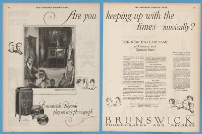 1923 Brunswick Beaux Arts Phonograph Antique Record player flapper girl Ad