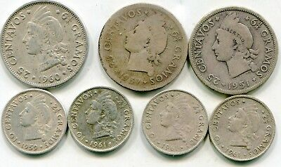 Dominican Republic  lot of (7) vintage silver coins   lotsep4595