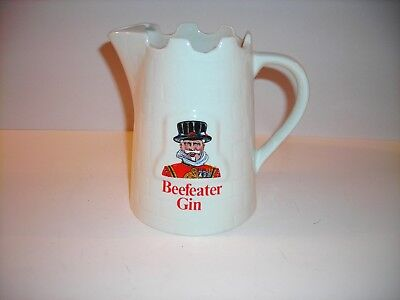"""BEEFEATER GIN white porcelain PITCHER made in England 6"""" tall, Nice"""