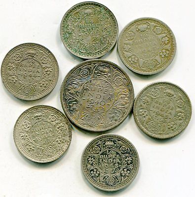 India British lot of (6) vintage silver coins   lotsep4624
