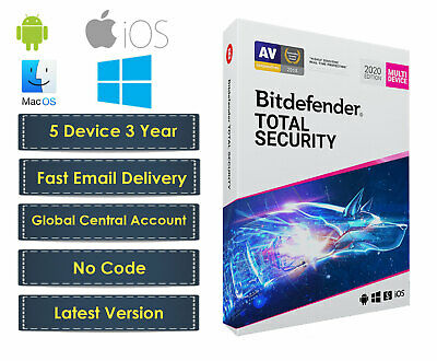 Bitdefender Total Security 2019 - 5 Device 3 Year (Central Account - eDelivery)