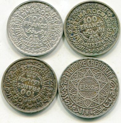 Morocco lot of  (4) vintage silver coins   lotsep4601