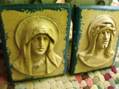 Primitive Antique Clay Wall Hanging Plaques Jesus & Mary in Relief Shabby Chippy