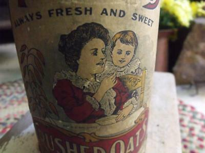 Antique Early 1900s Mother's Crushed Oats Paperboard Canister GREAT Patina