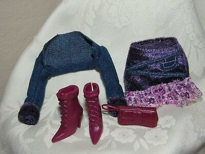 Barbie Fashion Fever Jean Jacket Shrug Velvety Purple Skirt Boots For Doll
