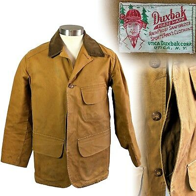 Vintage 1930s Duxbak Canvas Hunting Jacket Front Entry Game Pouch Half Moon 40