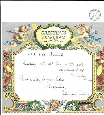 POST OFFICE GREETINGS TELEGRAM Type 34 to YELVERTON Devon 1956