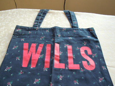 Jack wills tote bag, Blue with flowers and wills on the front, ideal for shops