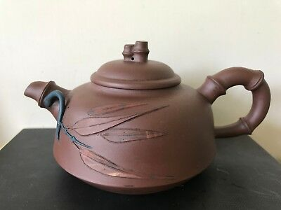 Antique Chinese Yixing Clay Teapot Bamboo Decoration & Finial Perfect Condition