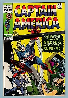 CAPTAIN AMERICA # 123 VFN- (7.5) 1st SUPREMA APPEARANCE - GLOSSY - CENTS - 1970