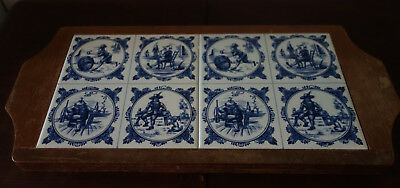 vintage wooden tiled delft tray